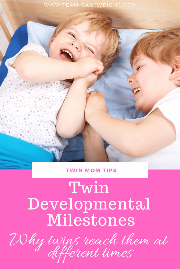 Toddler Twin Milestones: Should they happen at the same time? Learn what to do when one twin lags behind the other. #TwinMilestones #TwinTips #TwinDevelopment #BabyTwins #ToddlerTwins Team-Cartwright.com