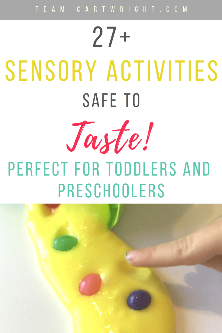Over 25 sensory play activities that are safe to eat! Learn how to make edible paint, edible play doh, edible sensory bins, and more! Let your toddler and baby take a nibble, these activities are made for it. #SensoryPlay #SensoryBin #sensoryactivities #STEM #STEMEducation #toddler #baby #preschooler Team-Cartwright.com