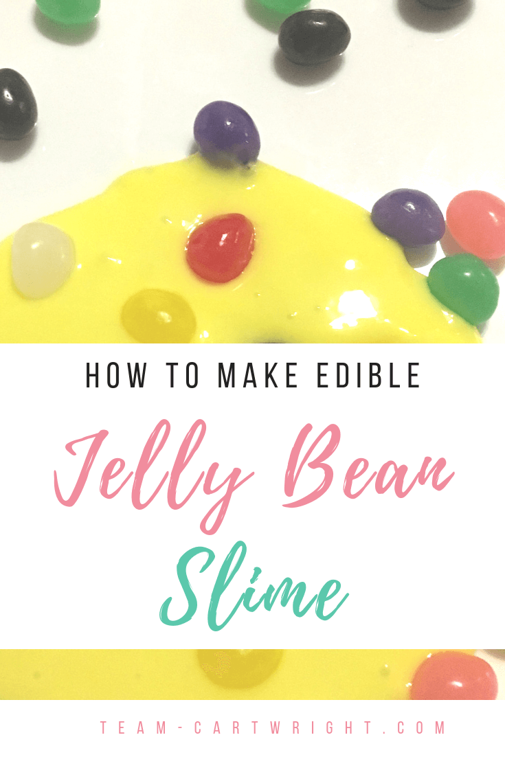 picture of slime with jelly beans with text overlay how to make edible jelly bean slime