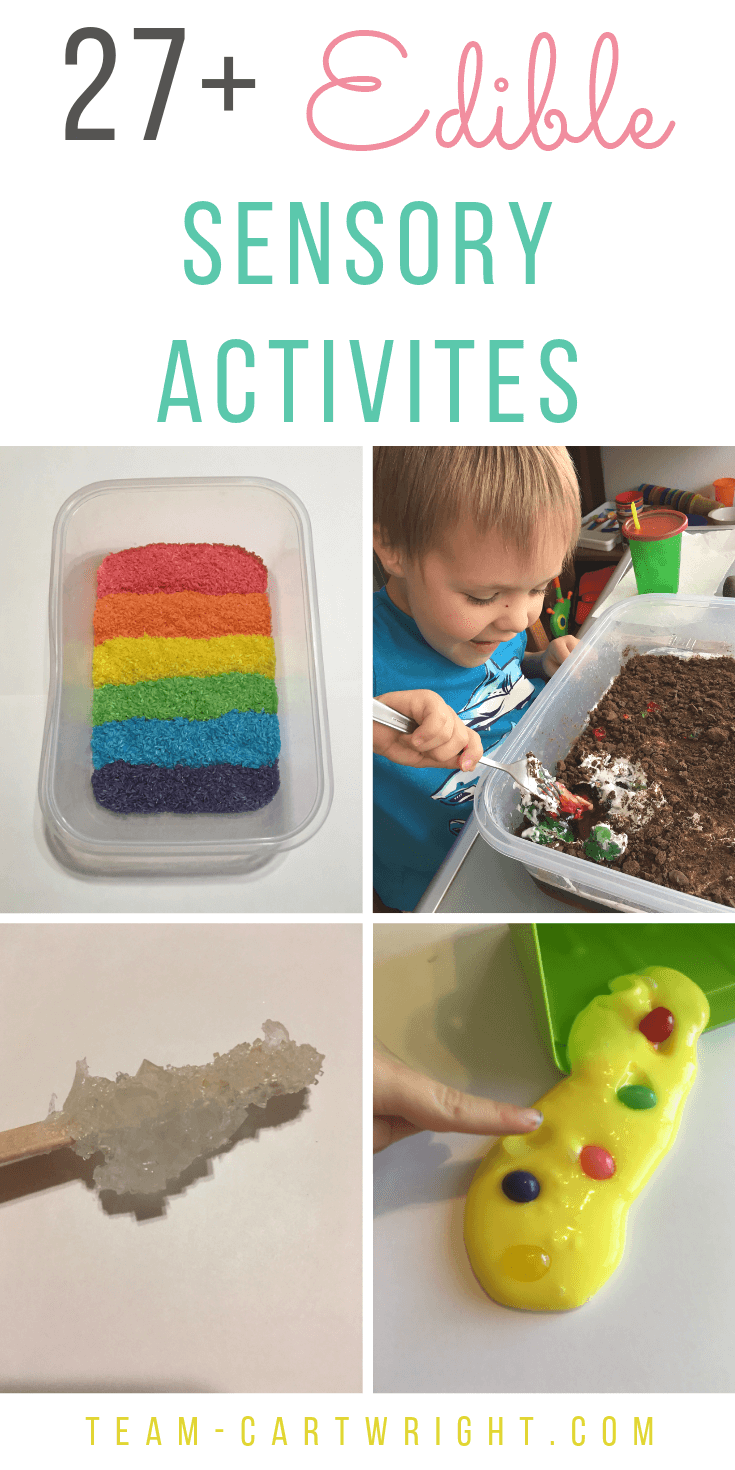 27 Taste Safe Sensory Activities for Toddlers, Babies, and Preschoolers! Learn how to make edible paint, edible slime, edible play doh and more! Sensory bin fillers your kids can nibble on and be safe with. #Sensory #sensoryplay #sensoryactivities #sensorybin #learningactivities #toddler #preschool Team-Cartwright.com