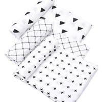 """Tosnail Muslin Baby Swaddle Blankets, Super Soft Touch - 47"""" x 47"""" - Set of 3 (Triangle+Cross+Grid)"""