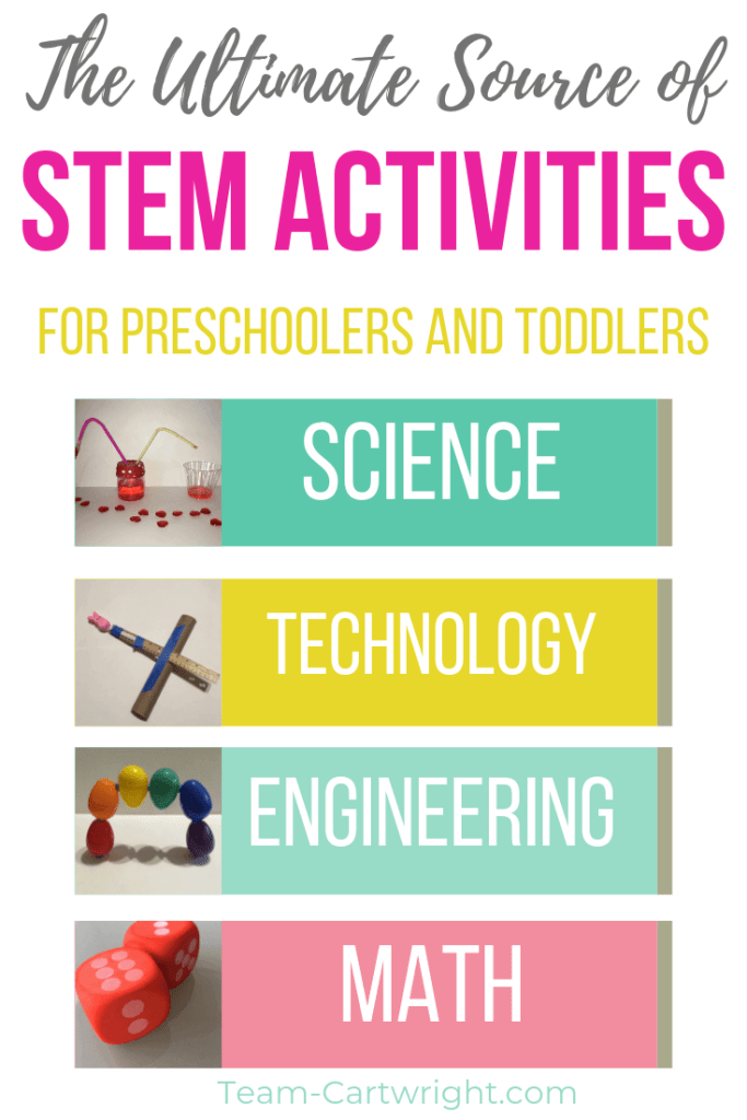 text: The ultimate source of STEM activities for preschoolers and toddlers with list of pictures of Science Technology Engineering and Math