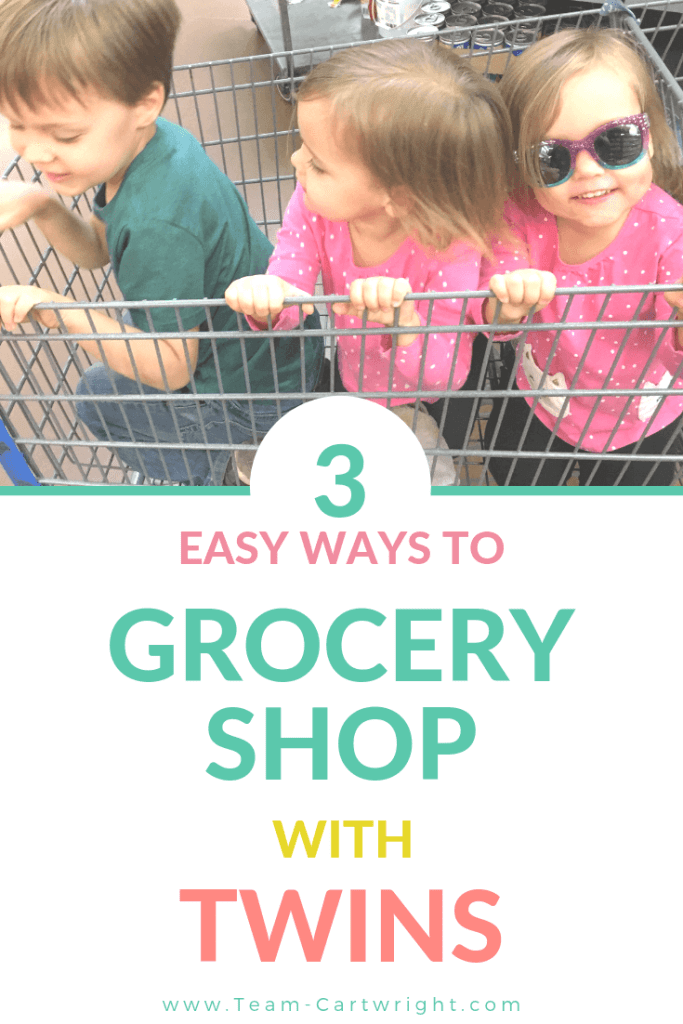 picture of 3 young children in a shopping cart with text overlay 3 Easy Ways to Grocery Shop with Twins