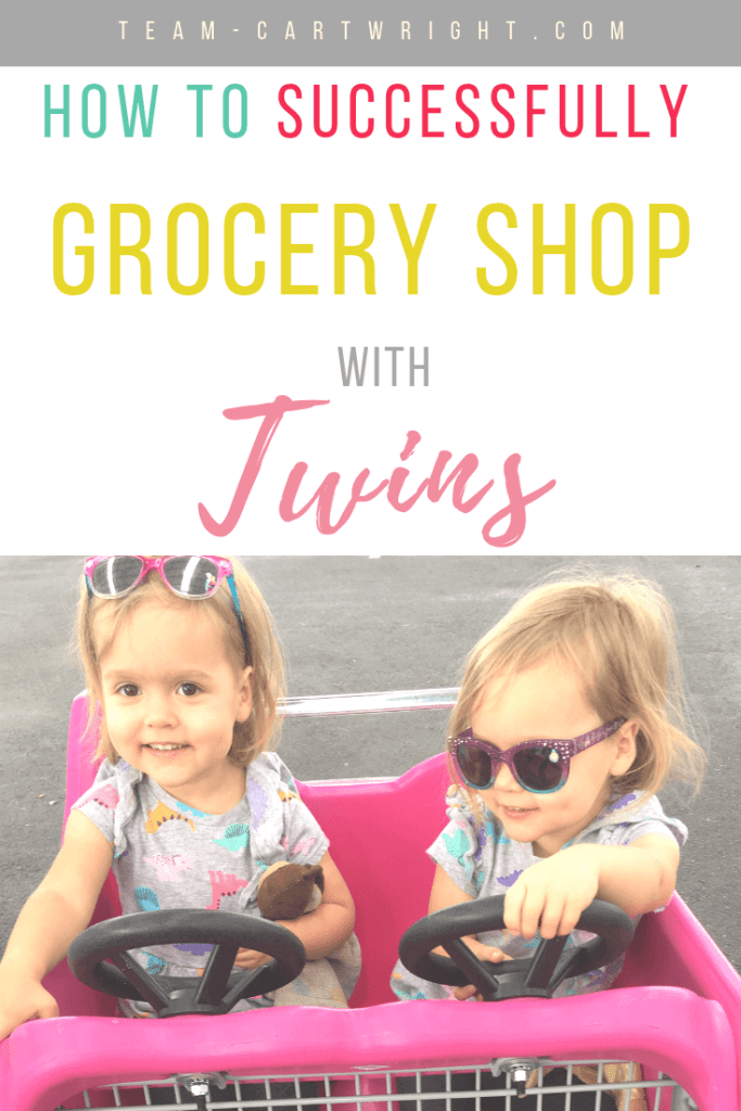 picture of twins in a shopping cart with text overlay how to successfully grocery shop with twins