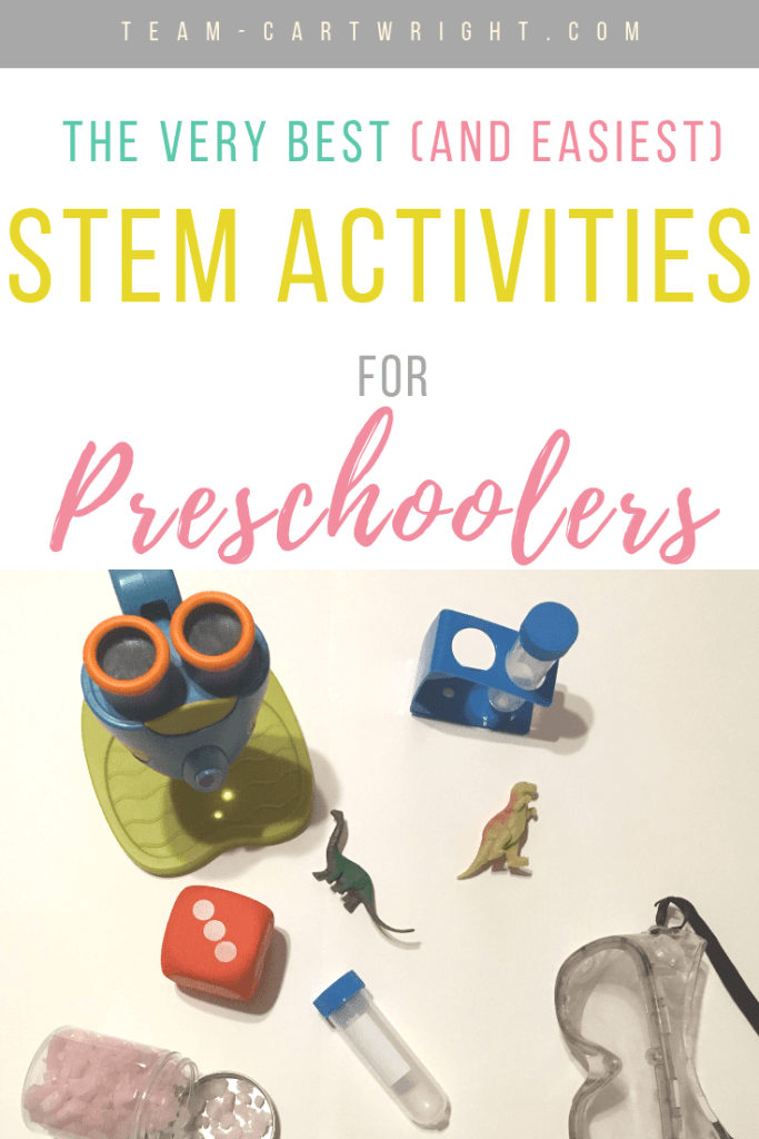 picture of STEM supplies for preschoolers, microscope, safety glasses, dice, test tube and text overlay The Very Best (And Easiest) STEM Activities for Preschoolers