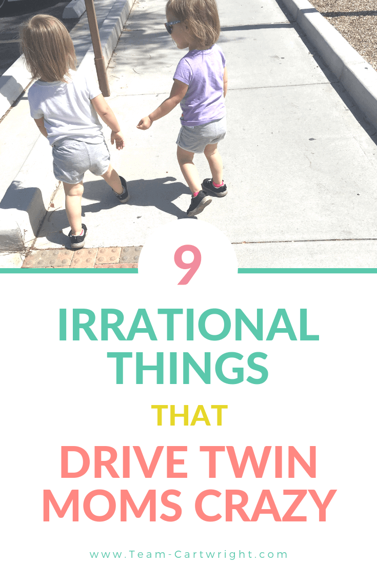 picture of toddler twins with text overlay 9 Irrational Things That Drive Twin Moms Crazy