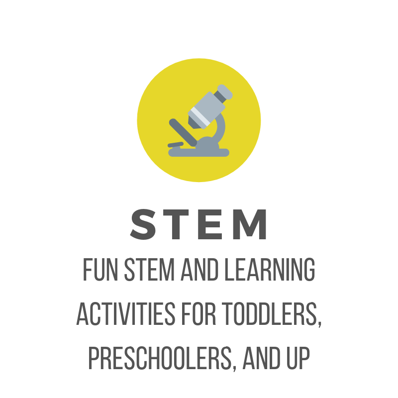 picture of yellow circle with grey microscope and text: STEM and Learning Fun STEM and learning activities for toddlers, preschoolers, and up