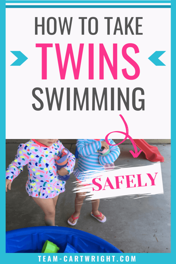 How To Take Twins Swimming Safely with picture of toddler twins by a pool