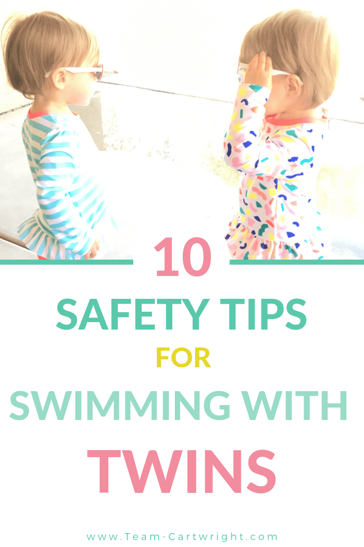 picture of toddler twins in swim suits with text 10 Safety Tips for Swimming with Twins