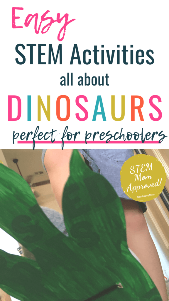 dinosaur preschool activities picture of a dinosaur foot with text Easy STEM Activities all about Dinosaurs perfect for preschoolers
