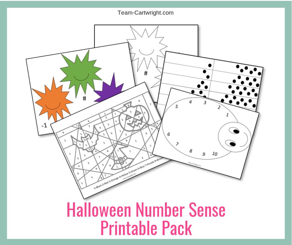Halloween Number Sense Printable Worksheets