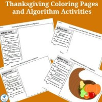 Thanksgiving Coloring Pages and Algorithm Activity