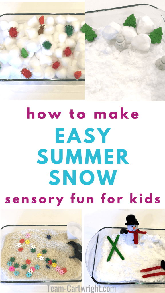 how to make easy summer snow sensory bins for kids