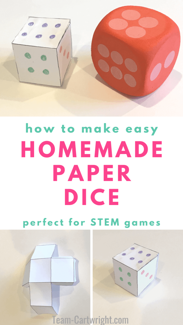 How to make a simple DIY paper dice! This is the easiest way to make dice for all your games or to practice counting and number sense. Grab the free printable template and instructions to customizable dice today! How to make paper dice. DIY paper dice free printable. #Paperdice #STEMactivities #freeprintable #diydice Team-Cartwright.com