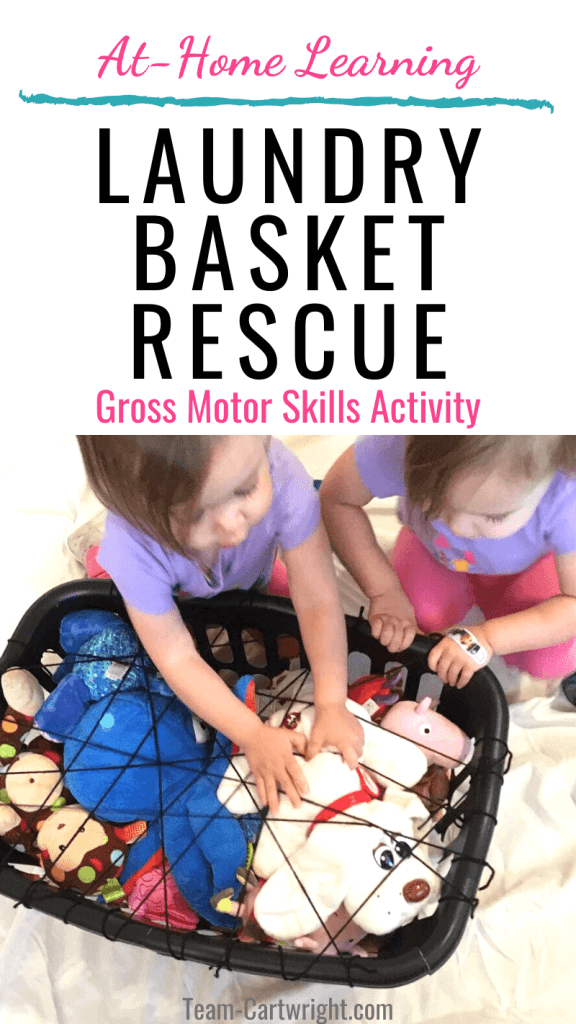 Laundry basket rescue gross motor skill activity for toddlers