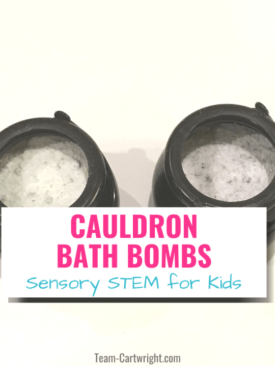 Cauldron Bath Bombs sensory STEM for kids with picture of two cauldron bath bombs