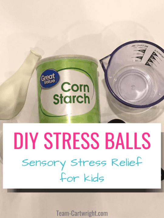 DIY Stress Balls for Kids with picture of materials to make the stress ball (balloon, cornstarch, measuring cup