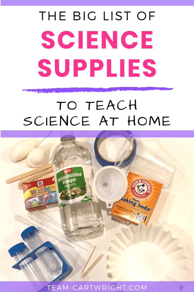 The Big List of Science Supplies to Teach Preschool Science At Home wit picture of supplies listed in post.