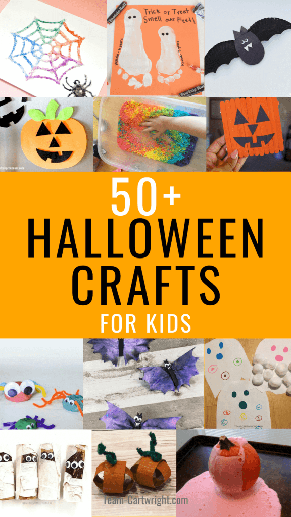 50+ Halloween Crafts for Kids with pictures of crafts for toddlers and preschool