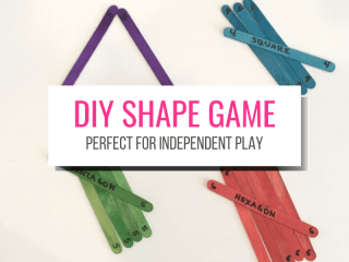 DIY Shape Game Perfect for Independent Play with picture of multicolored craft sticks labeled to make shapes.