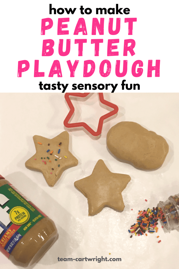 how to make peanut butter playdough taste sensory fun with picture of peanut butter, star cookie cutter, brown edible playdough, and sprinkles