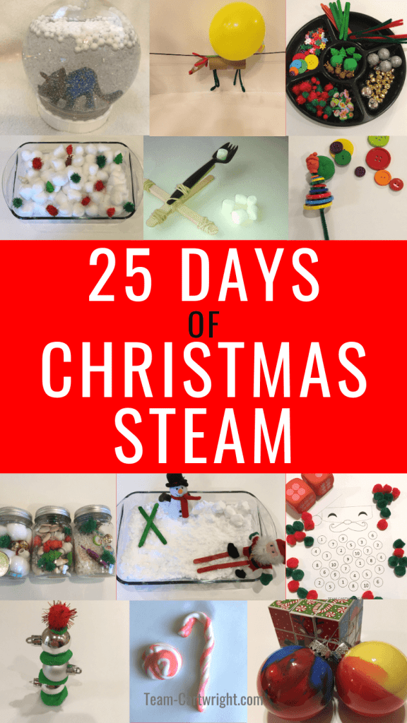25 Days of Christmas STEAM Activities for kids with images of the many activities