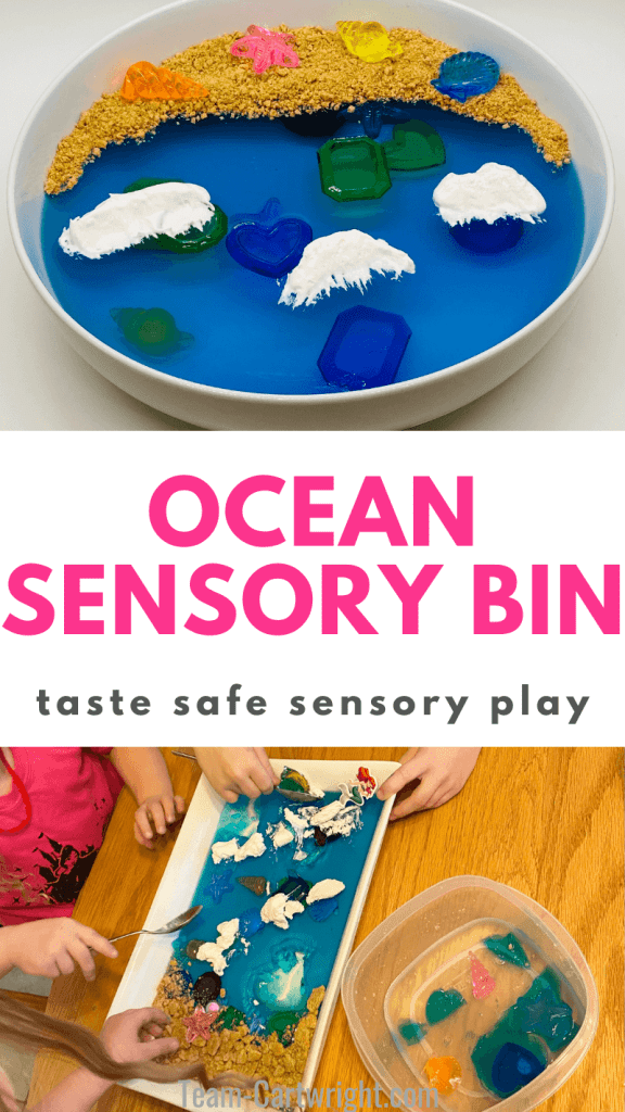 text: Ocean Sensory Bin taste safe sensory play Top Picture: Ocean Sensory Bin Bottom Picture: Children playing with an ocean sensory dig