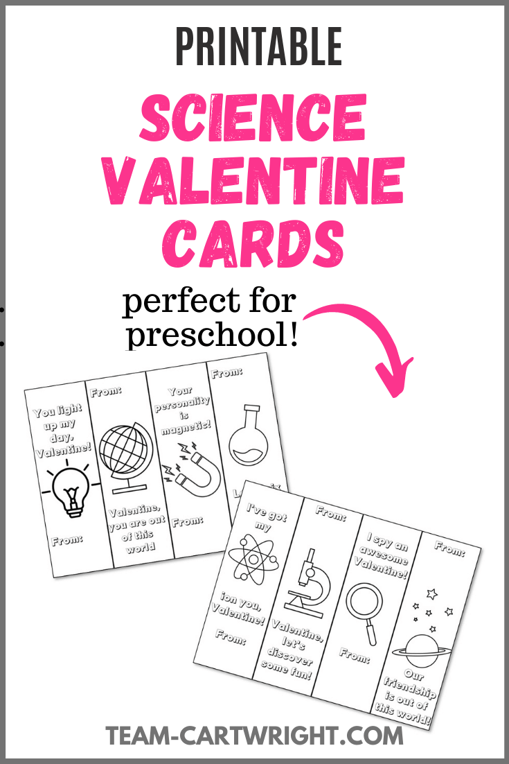 Printable Science Valentine Cards with picture of printables