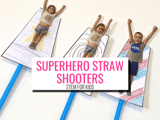 Text: Superhero Straw Shooters STEM for Kids (Picture: 3 homemade superher straw shooters