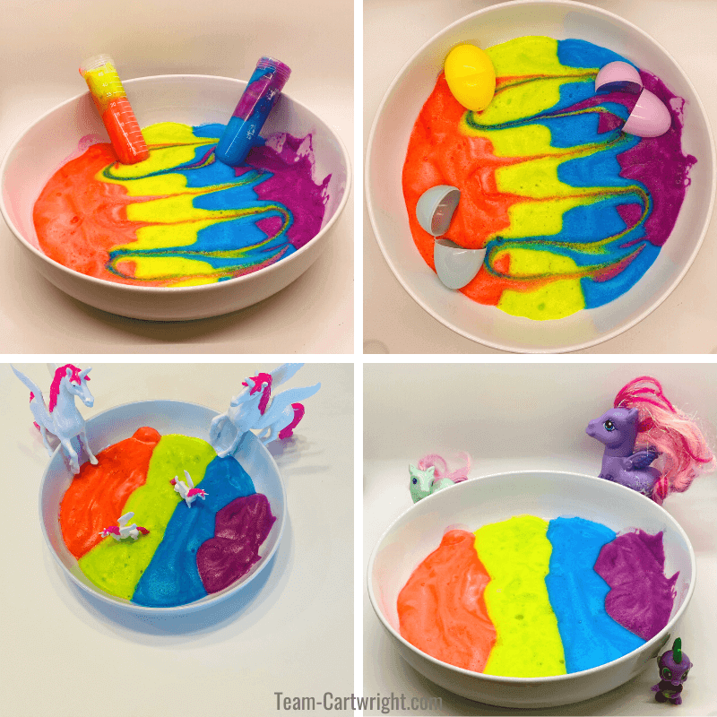 pictures of aquafaba sensory bins, science themed, with plastic eggs, my little pony themed, and unicorn themed