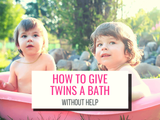 Text: How To Give Twins a Bath Without Help Picture: Twins in a pink bathtub