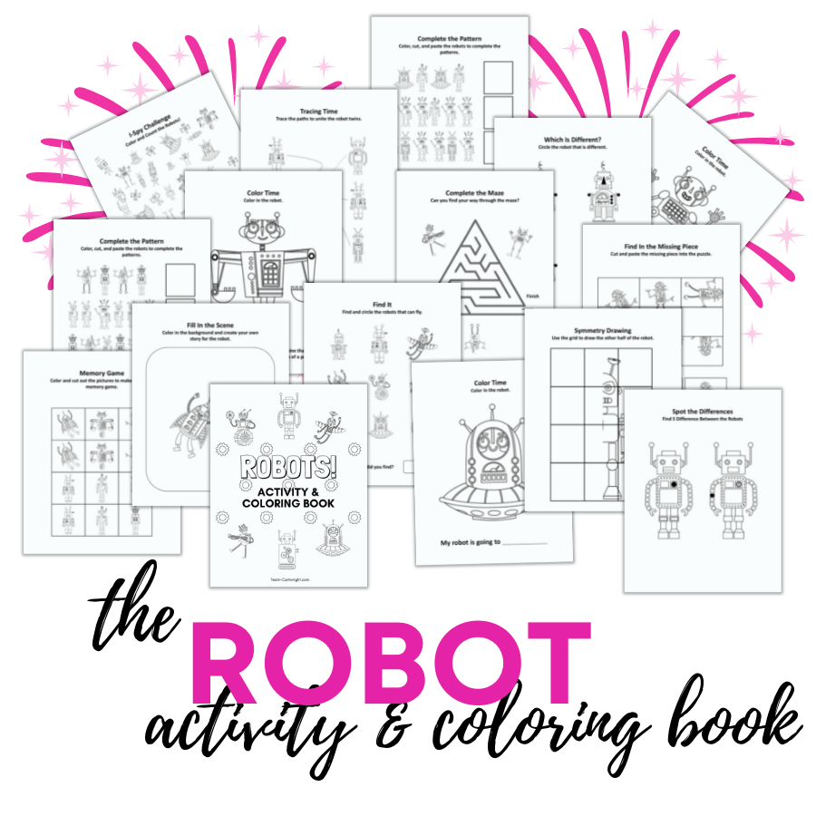 Text: The Robot Activity & Coloring Book. Picture: 30 printable robot activities and coloring pages