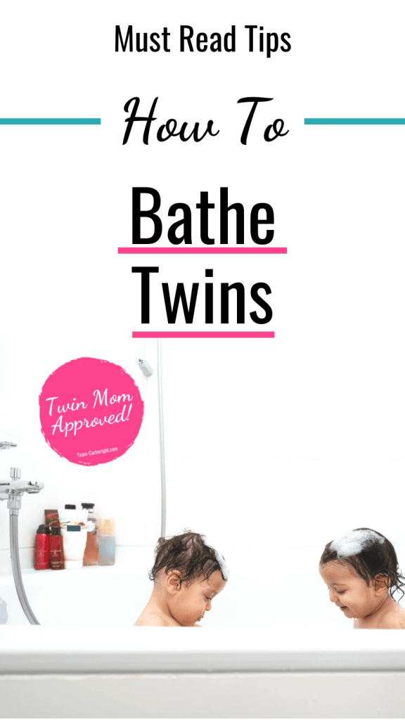 Text: Must Read Tips How To Bathe Twins Picture: Twins in a bathtub Badge: Twin Mom Approved