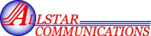 Allstar Communications, red and blue, text