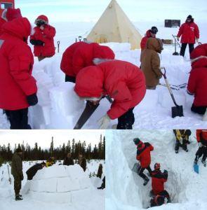 Karda kış outdoor takım çalışması