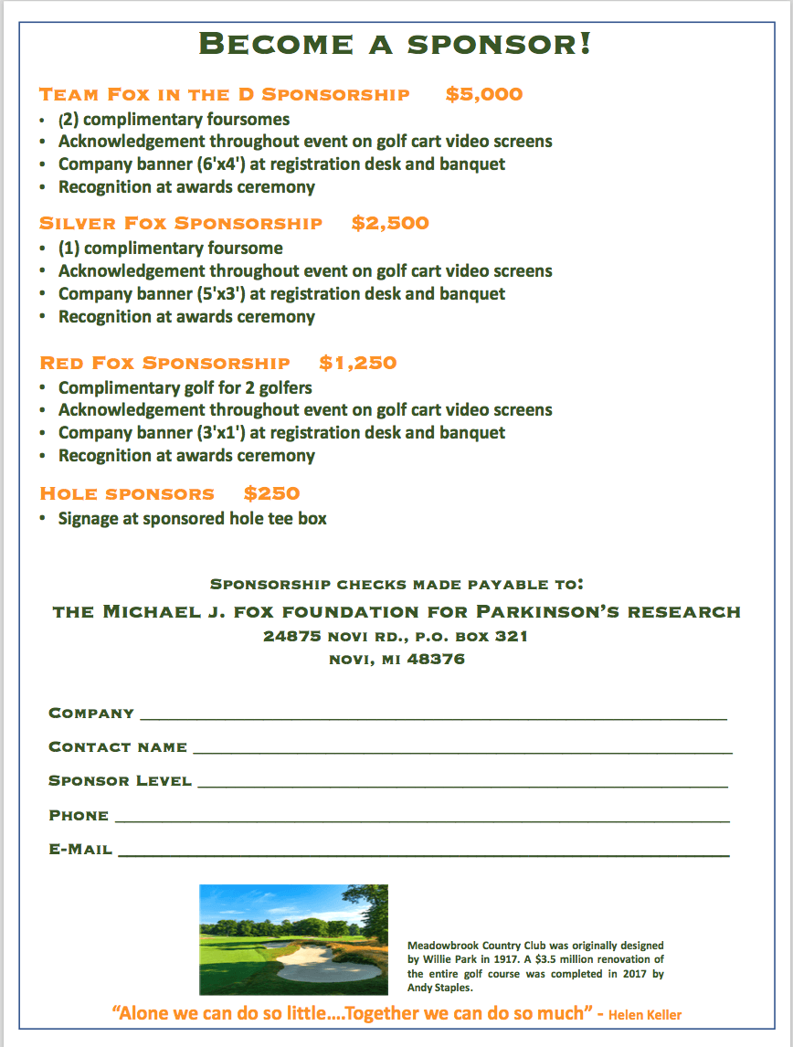 golf outing sponsor sheet