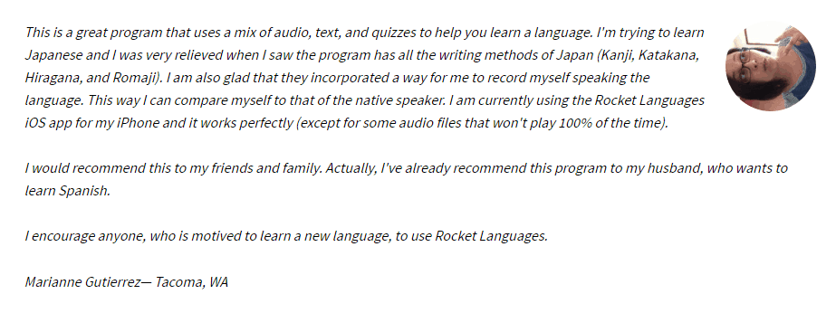 A Rocket Japanese user review