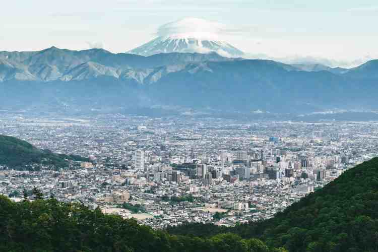 Mount Fuji in Japan, and Japanese city view. Want to learn Japanese? Find the best online Japanese course at Team Japanese