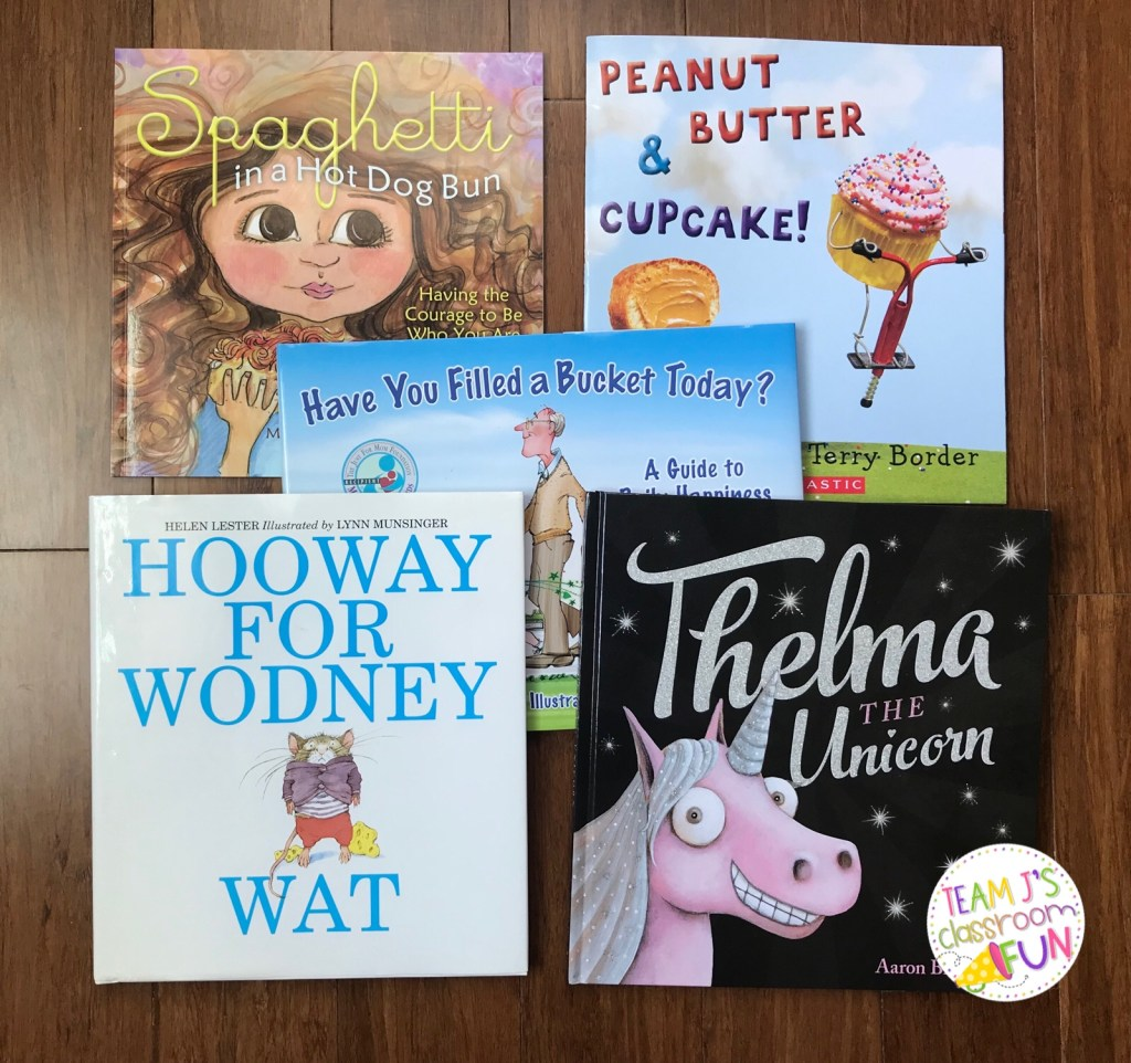 Picture of books - Spaghetti in a Hot Dog Bun, Peanut Butter & Cupcake, Have You Filled a Bucket Today, Thelma the Unicorn, Hooway for Wodney Wat