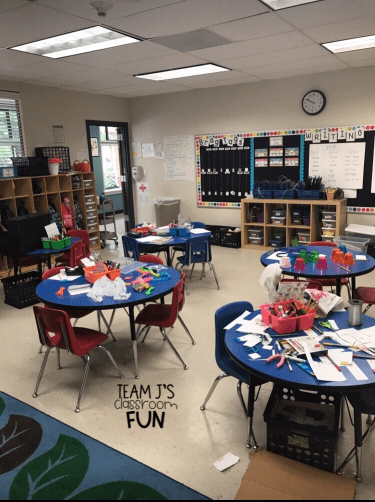 Picture of classroom while Market Day creations are going on.