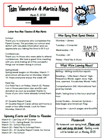 Picture example of a class newsletter