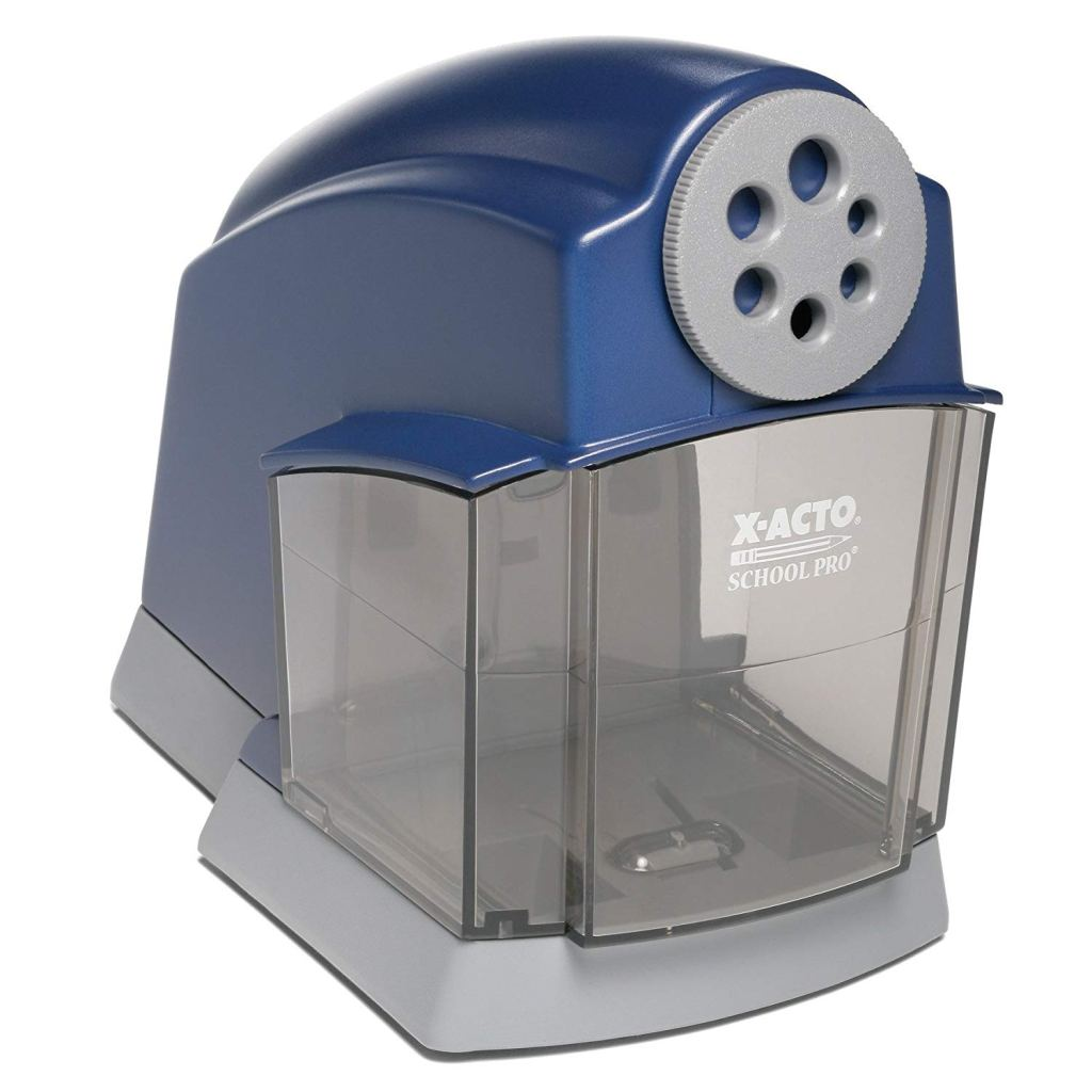 Picture of blue pencil sharpener.