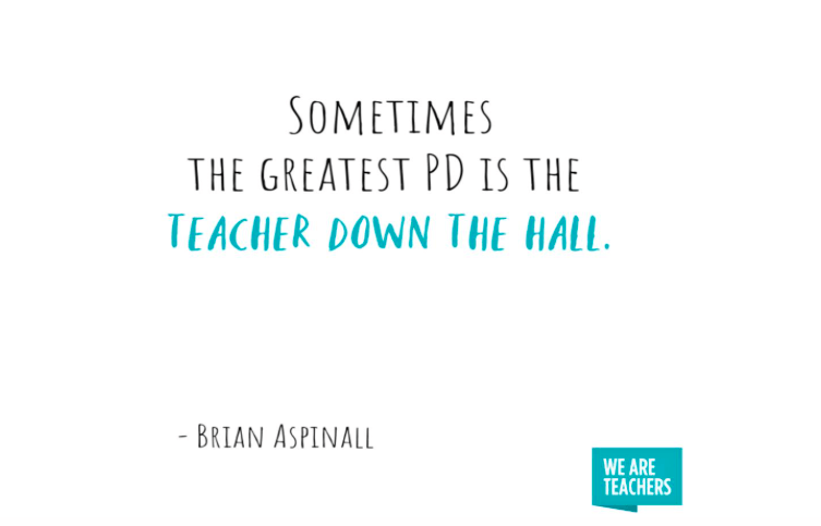 """Meme from We Are Teachers - """"Sometimes the greatest PD is the teacher down the hall."""""""