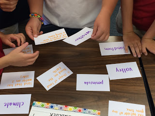 Picture of a sorting activity during Morning Meeting