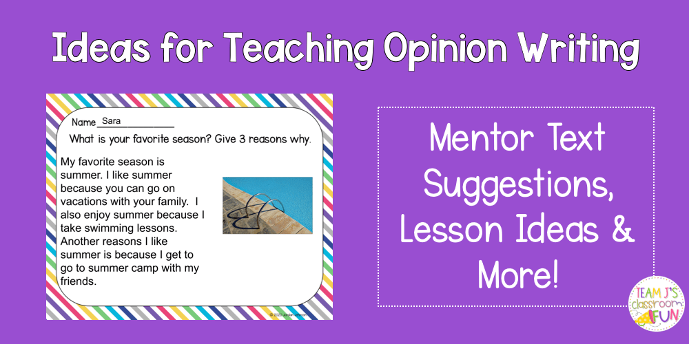 Blog Header for Teaching Opinion Writing. Picture of digital opinion writing prompt.