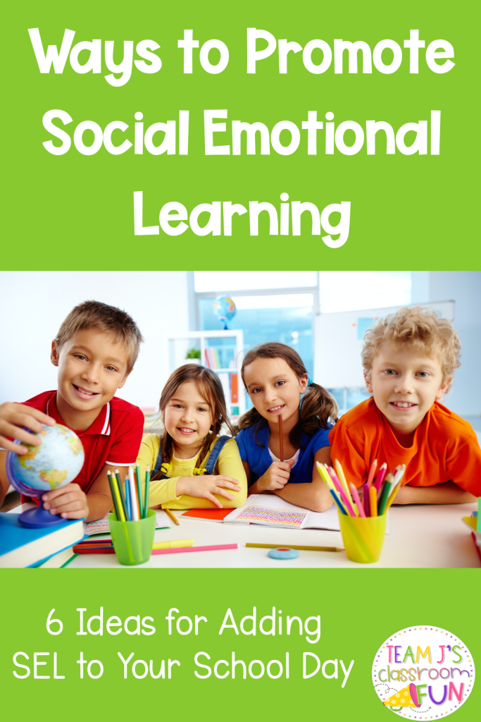 Long Pin for Blog Post Ways to Promote Social Emotional Learning. Photo of 2 boys and 2 girls at school.