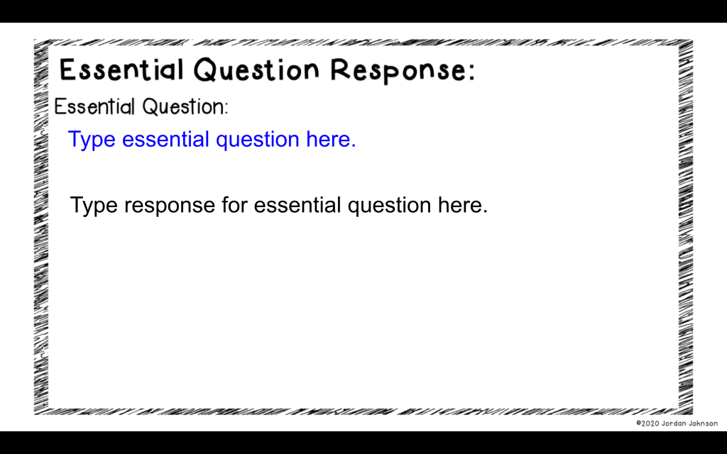 Picture of digital version of Essential Question response page.