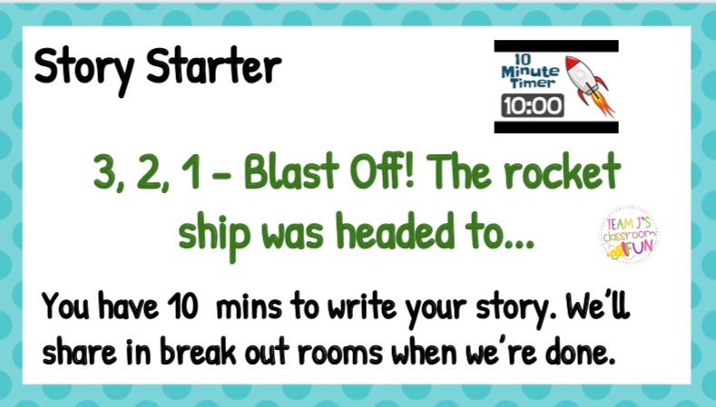 Image of Story Starter Slide with prompt - 3, 2, 1 - Blast off! The rocket ship was headed to....