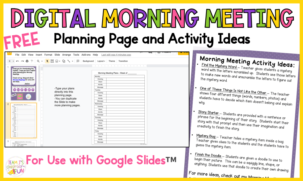 Image of Free Morning Meeting Planning Page and Morning Meeting Activity Ideas