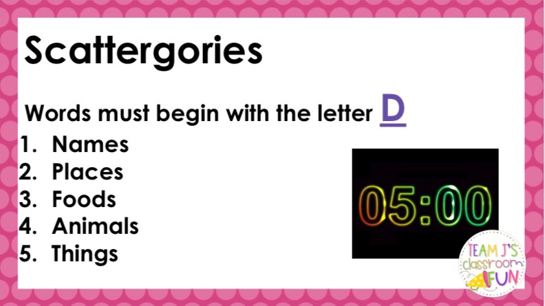 Image of Scattergories Slide for letter D with 5 minute timer